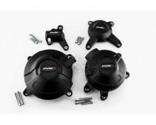 Ochranné kryty motoru PUIG 20128N černý zahrnuje pravý, levý, malý pravý a malý levý krytu Yamaha MT-09 17-