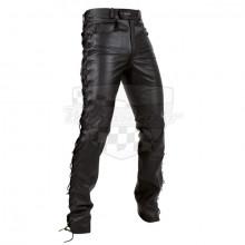 Kožené kalhoty Chopper černé matt - šněrování
