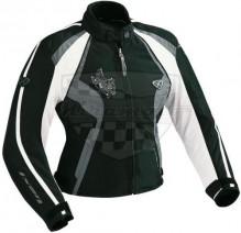 Bunda textilní dámská IXON Capricious E4277F černá - bílá DOPRODEJ